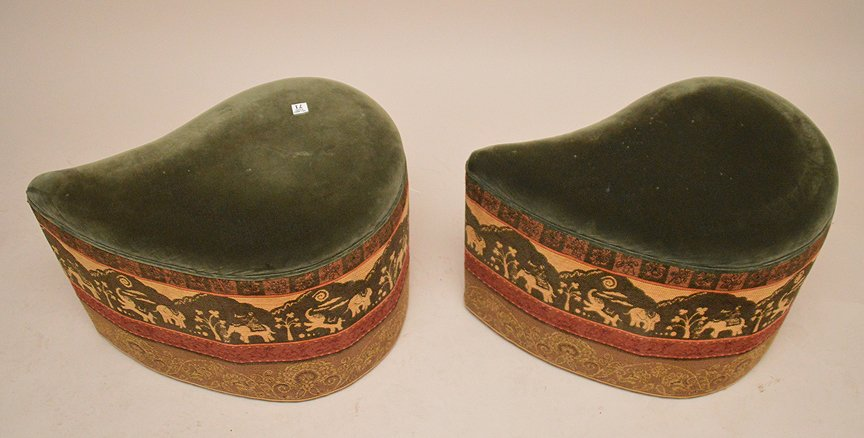 """2 unusual shaped paisley form upholstered ottomans, 17"""" - 3"""