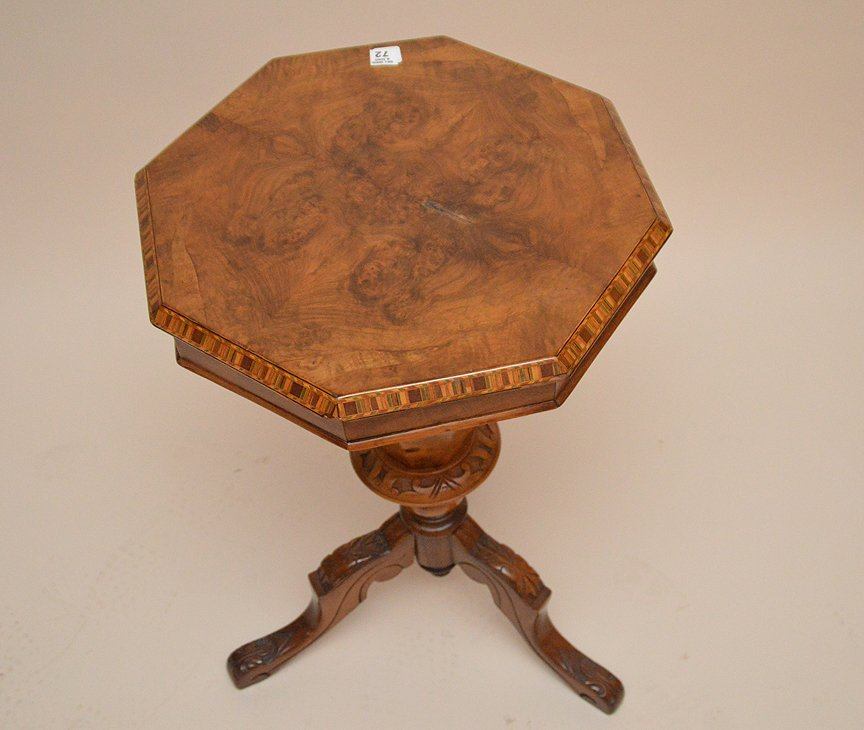 Burled wood Victorian sewing stand, octagonal form lid - 3