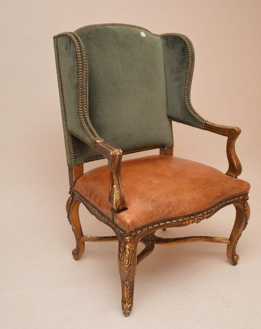 Ralph Lauren Wing Back Chair with green velvet and