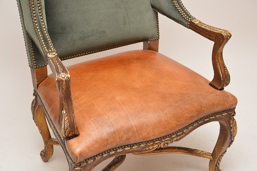 Ralph Lauren Wing Back Chair with green velvet and - 2