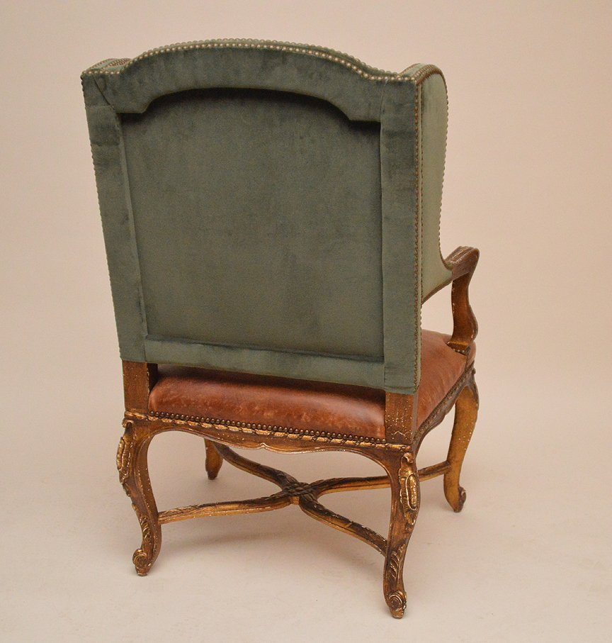 Ralph Lauren Wing Back Chair with green velvet and - 3
