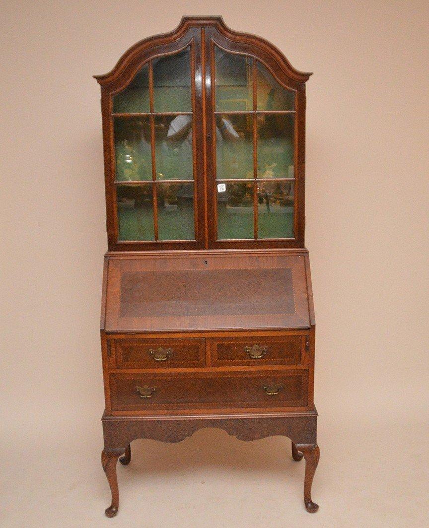 Dutch style mahogany secretary glass doors over drop