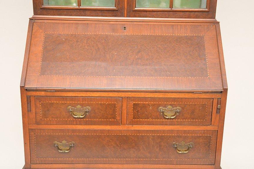 Dutch style mahogany secretary glass doors over drop - 2