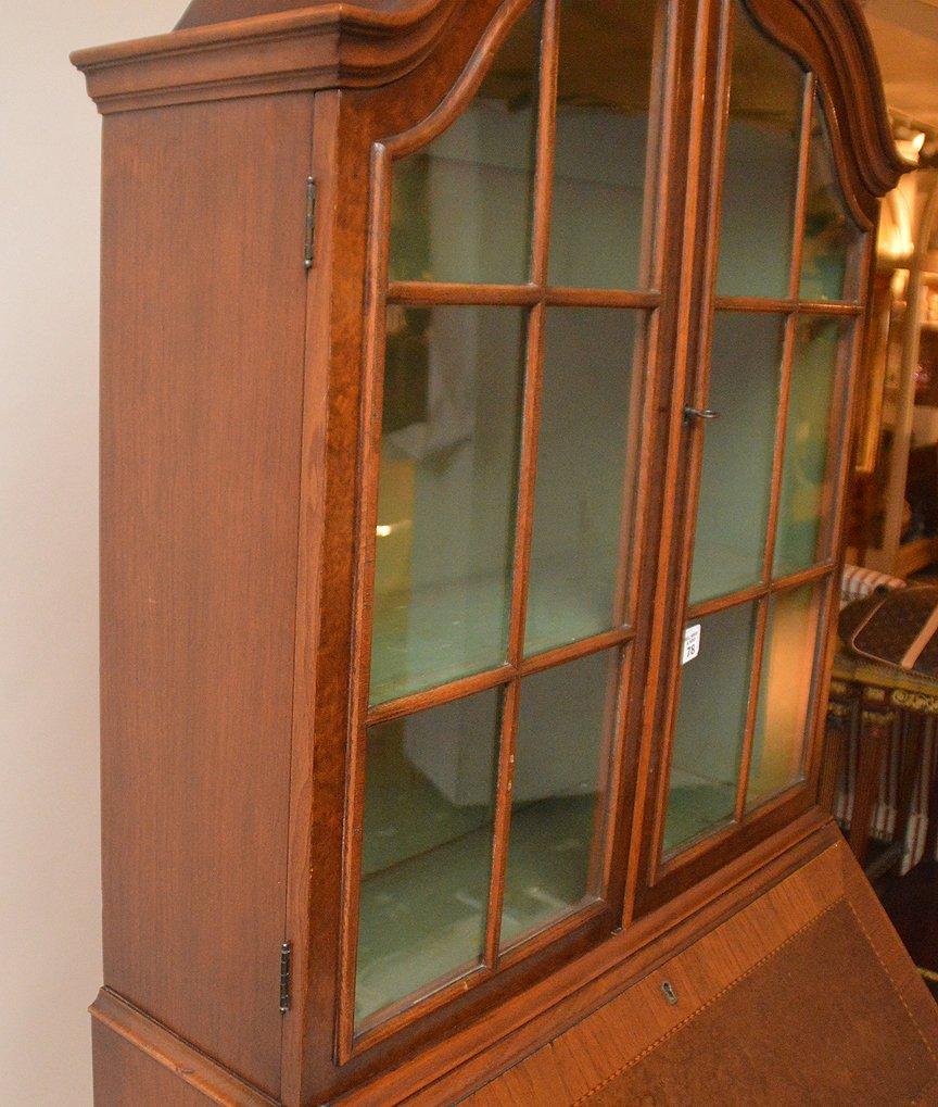Dutch style mahogany secretary glass doors over drop - 3