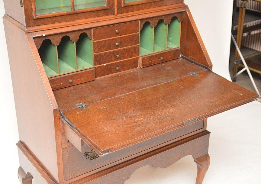 Dutch style mahogany secretary glass doors over drop - 5