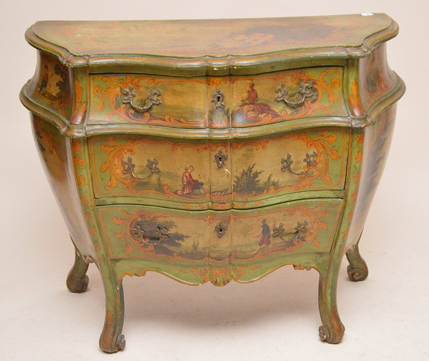 Green Painted 3 drawer Bombay commode with painted