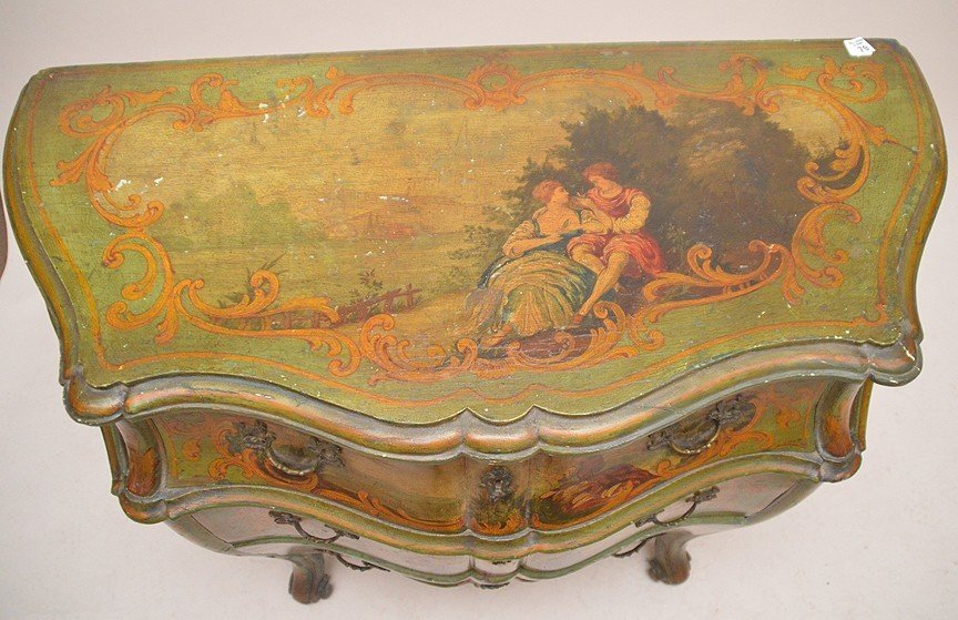 Green Painted 3 drawer Bombay commode with painted - 5