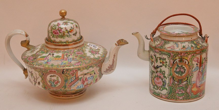 "2 Rose Medallion teapots, 6""h & 8""h (minor chips on"