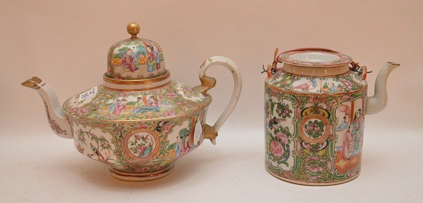 "2 Rose Medallion teapots, 6""h & 8""h (minor chips on - 4"