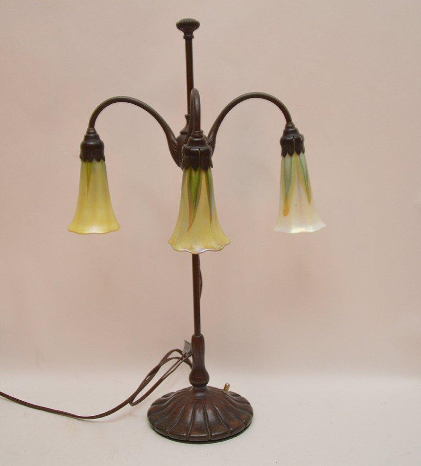 Tiffany Studios New York Bronze student lamp with 3