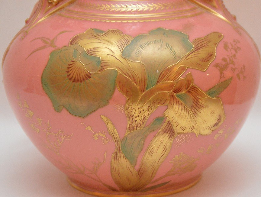 "Royal Crown Derby pink vase, 10 3/4""h - 2"