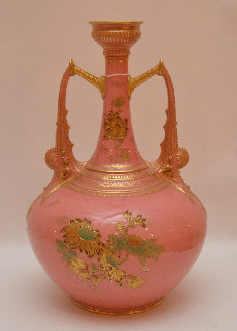 "Royal Crown Derby pink vase, 10 3/4""h - 4"