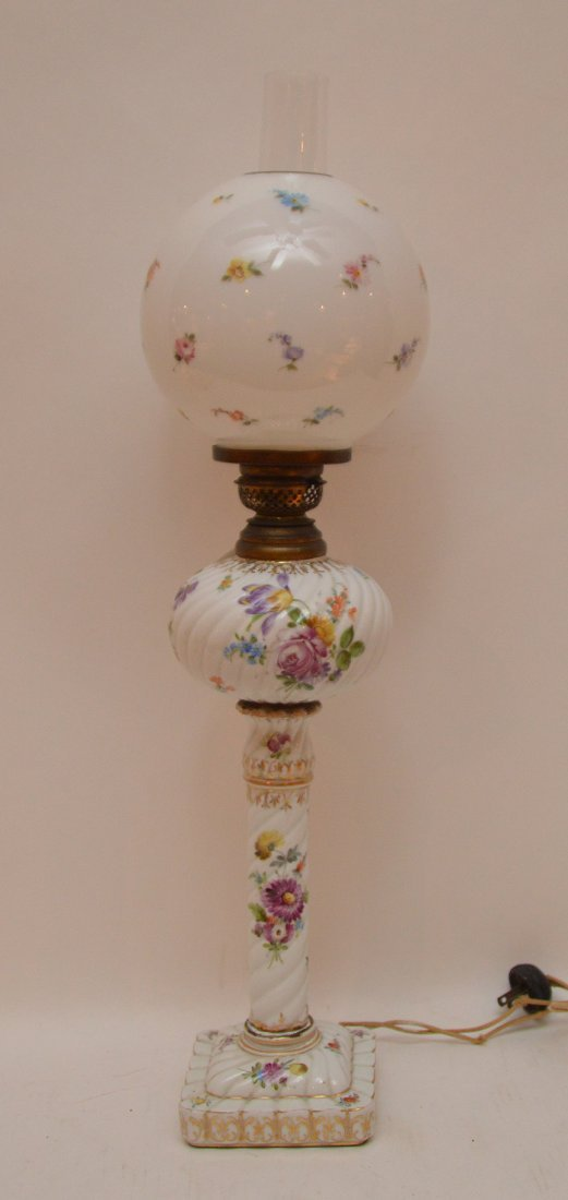 """German oil lamp converted, 22""""h (need to be lightened"""