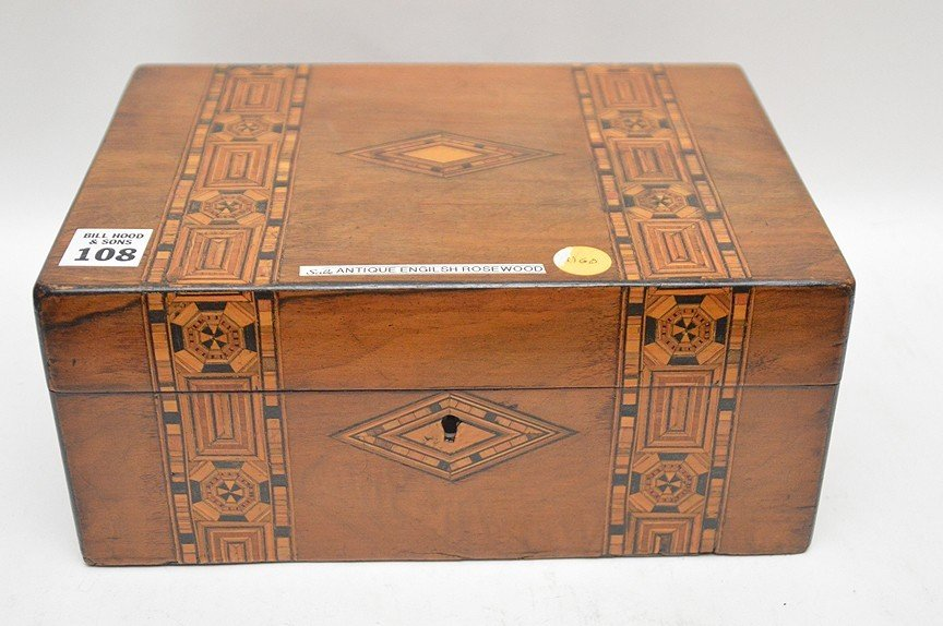 Antique English Rosewood box with fine marquetry design