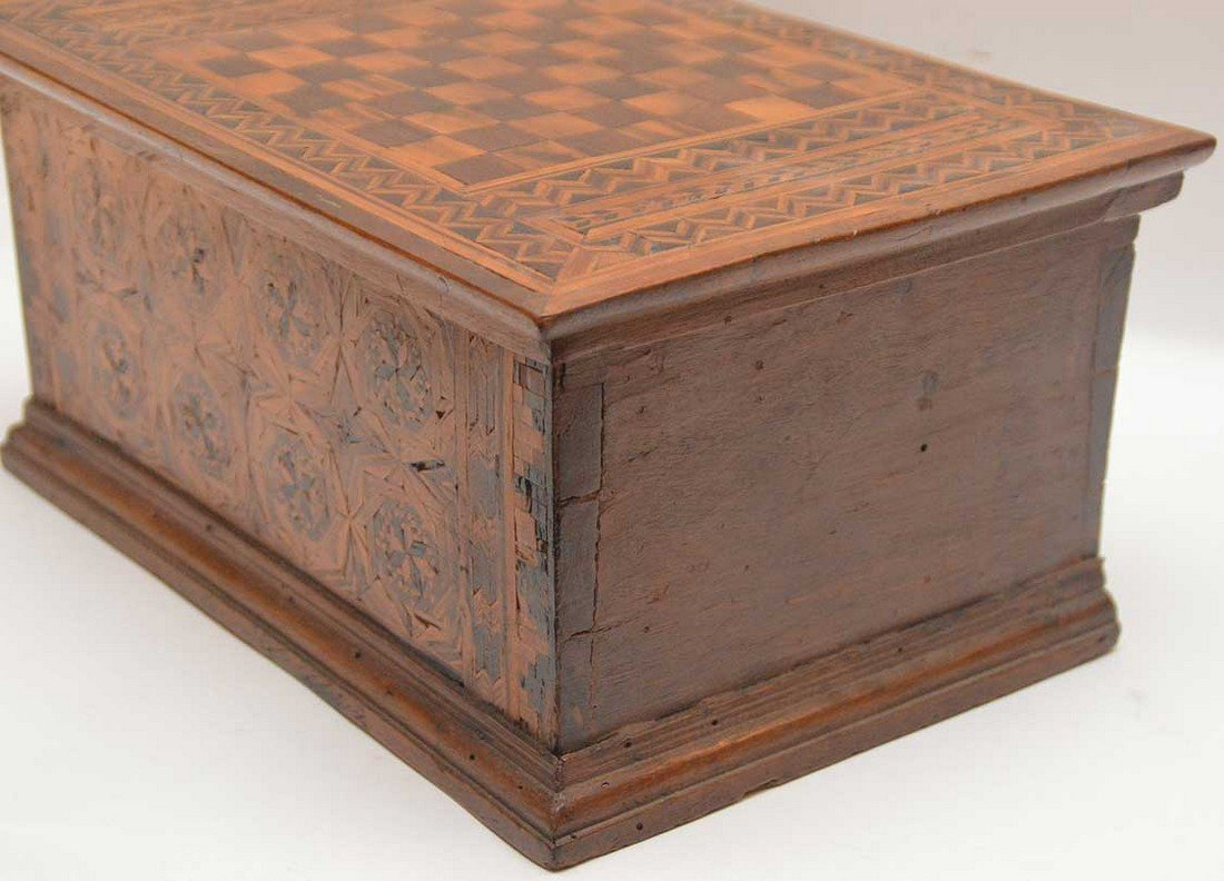 """19th c. marquetry box, 6""""h x 13""""w x 9""""d (glue repair at - 2"""