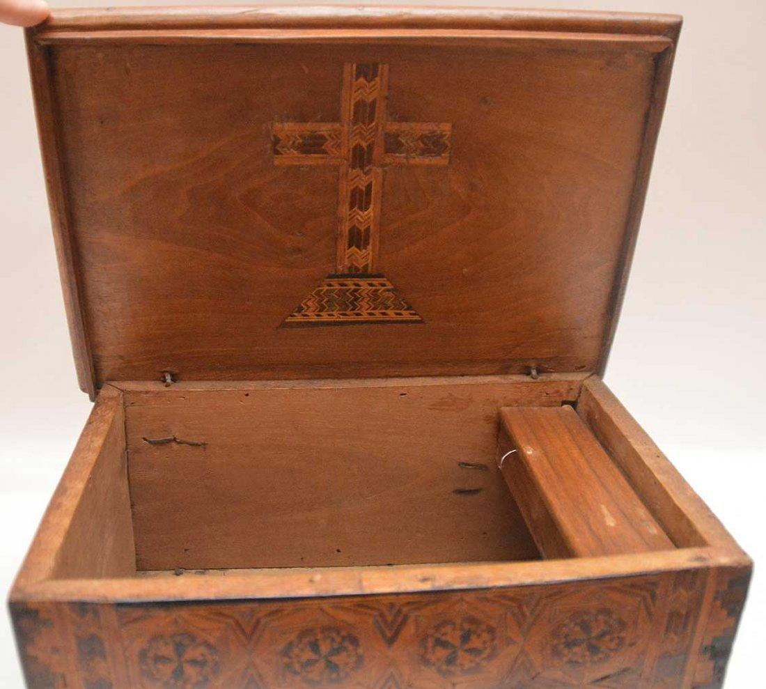 """19th c. marquetry box, 6""""h x 13""""w x 9""""d (glue repair at - 4"""