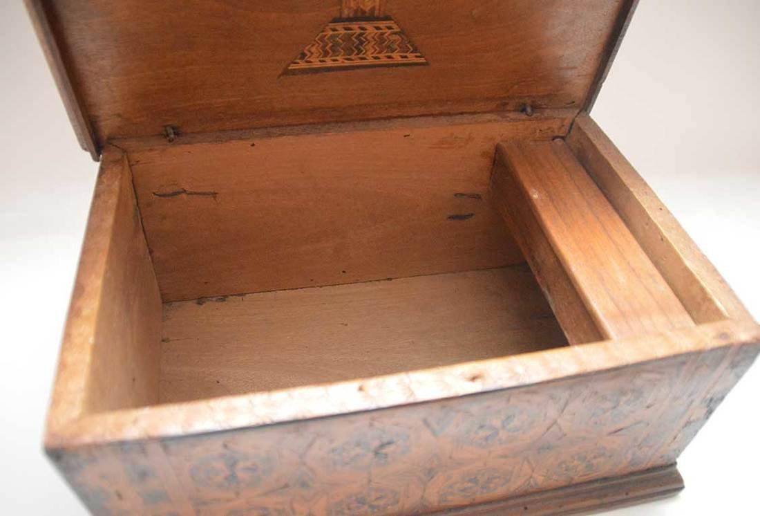 """19th c. marquetry box, 6""""h x 13""""w x 9""""d (glue repair at - 6"""
