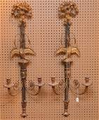 Pair Large Carved Gilt wood & Metal Sconces with eagles