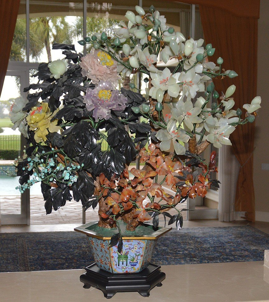 Monumental Jade Tree in cloisonné pot with wood stand.