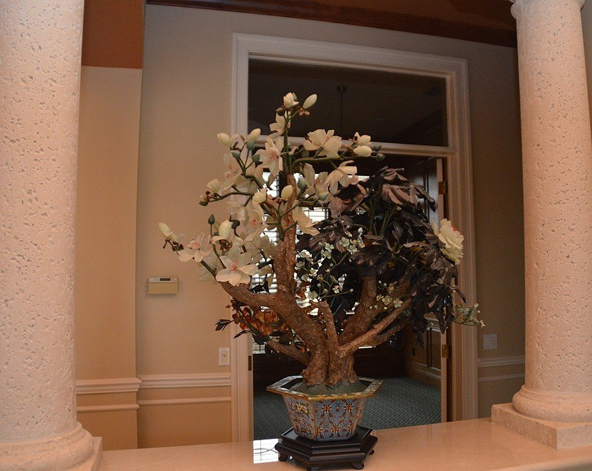 Monumental Jade Tree in cloisonné pot with wood stand. - 6