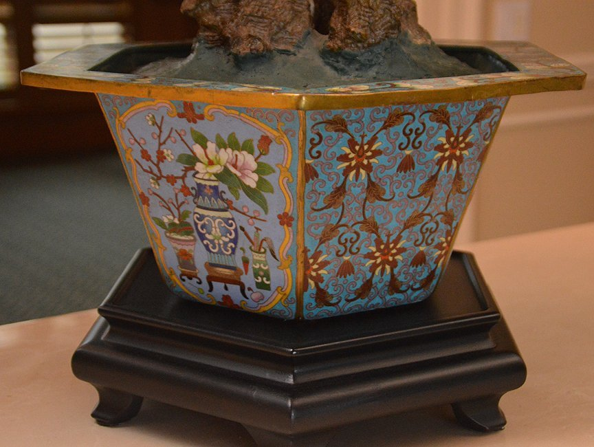 Monumental Jade Tree in cloisonné pot with wood stand. - 9