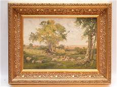HW Robinson oil on board Landscape with sheep 10