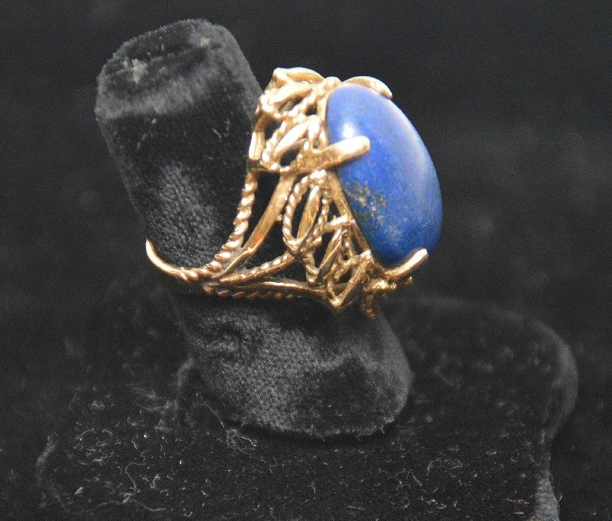 Ladies ring, 14kt gold, lapis stone - 2