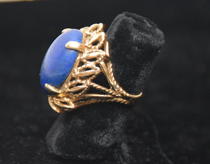 Ladies ring, 14kt gold, lapis stone - 3