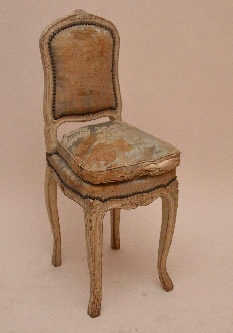 "Diminutive Louis XVI chair, 34""h x 13 1/2""w (needs"