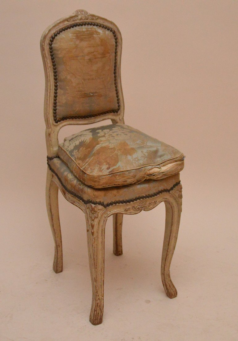 "Diminutive Louis XVI chair, 34""h x 13 1/2""w (needs"