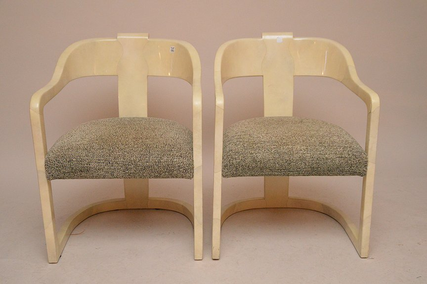 """Pair unsigned Springer arm chairs, 32""""h x 19""""d"""