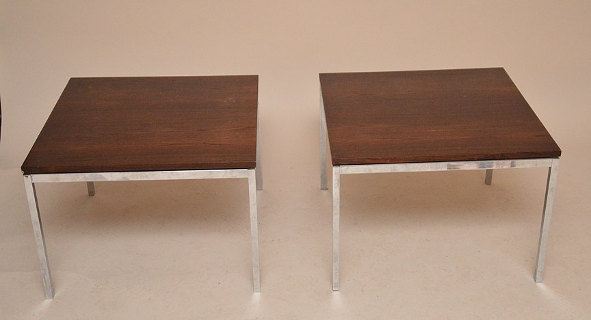 Pair of Knoll & Associates NY , chrome & rosewood side