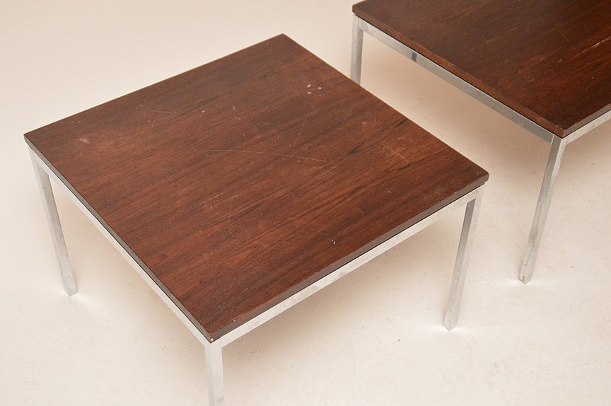 Pair of Knoll & Associates NY , chrome & rosewood side - 2