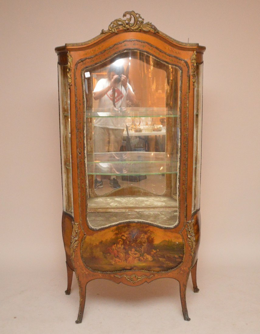 French painted curio cabinet, mirrored back, 3 bowed
