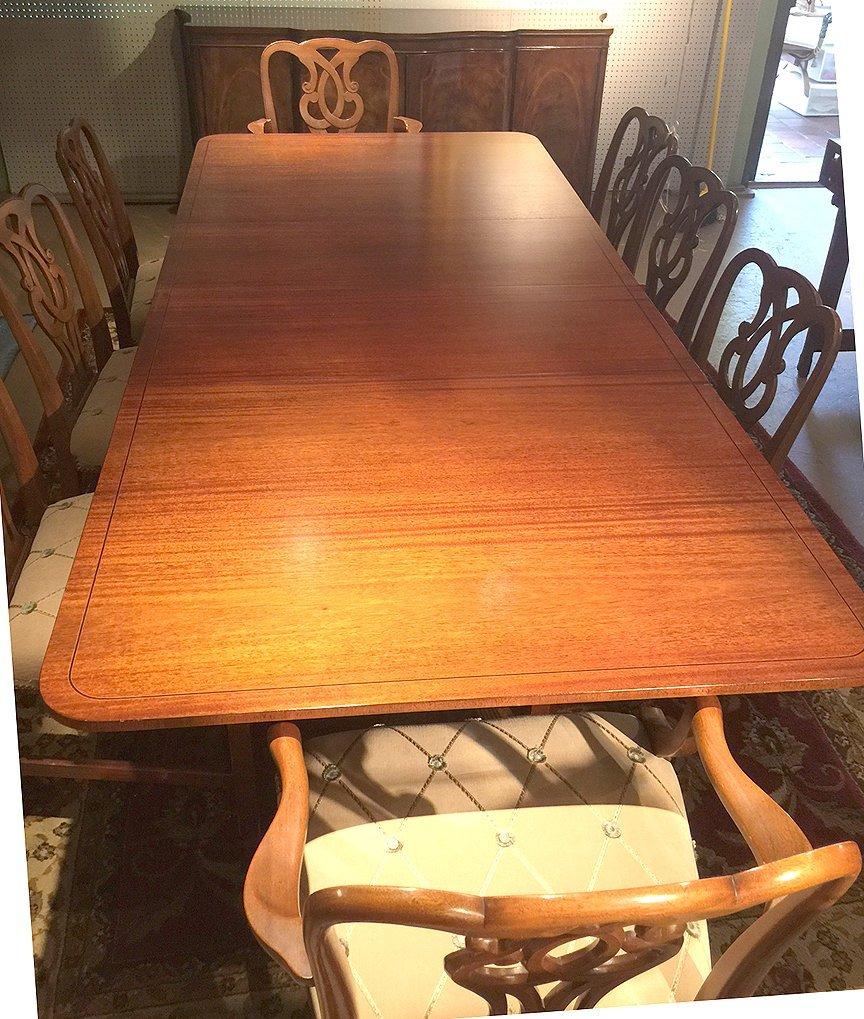 Mahogany Baker dining table sideboard & chairs