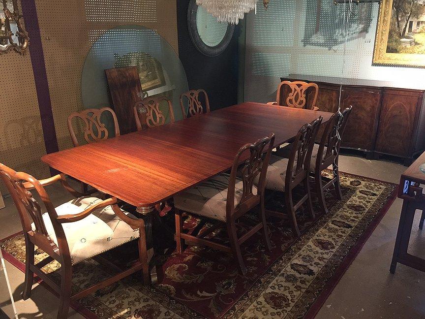 Mahogany Baker dining table sideboard & chairs - 2