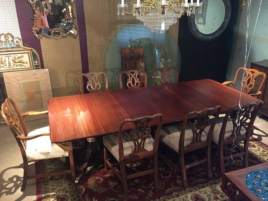 Mahogany Baker dining table sideboard & chairs - 4