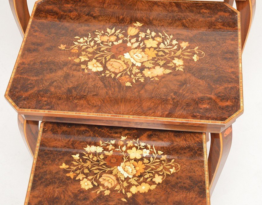 3 Italian graduated marquetry nest of tables, smallest - 2
