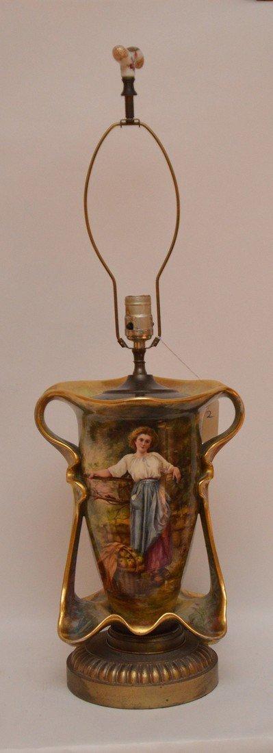 """Old Paris porcelain lamp, 32""""h"""