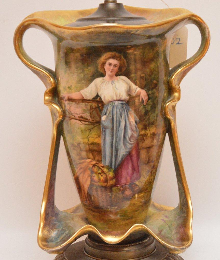 """Old Paris porcelain lamp, 32""""h - 2"""