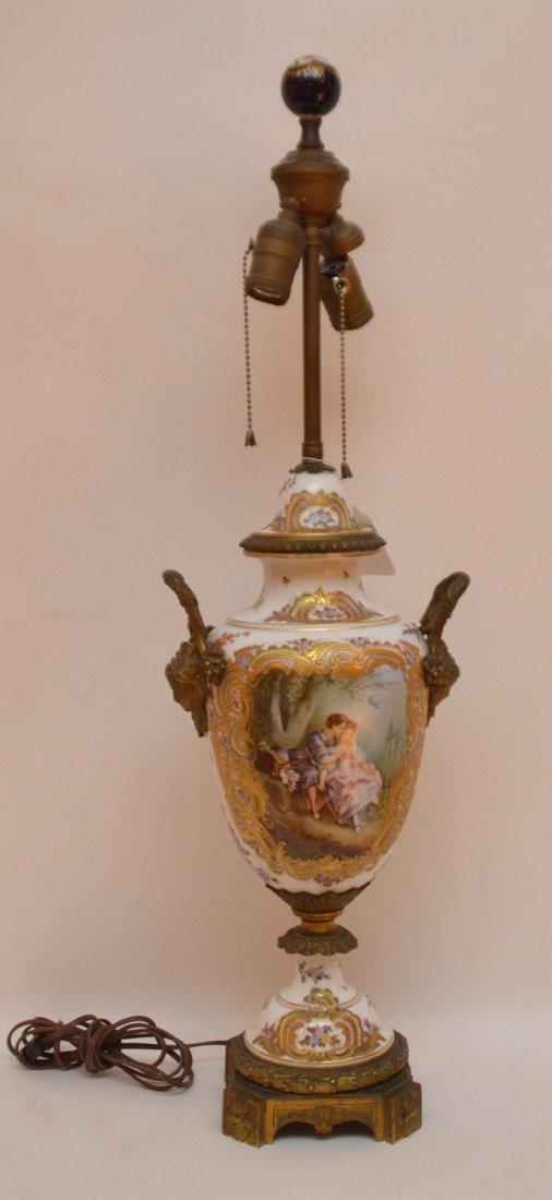 "French Sevres  porcelain lamp, 30""h"