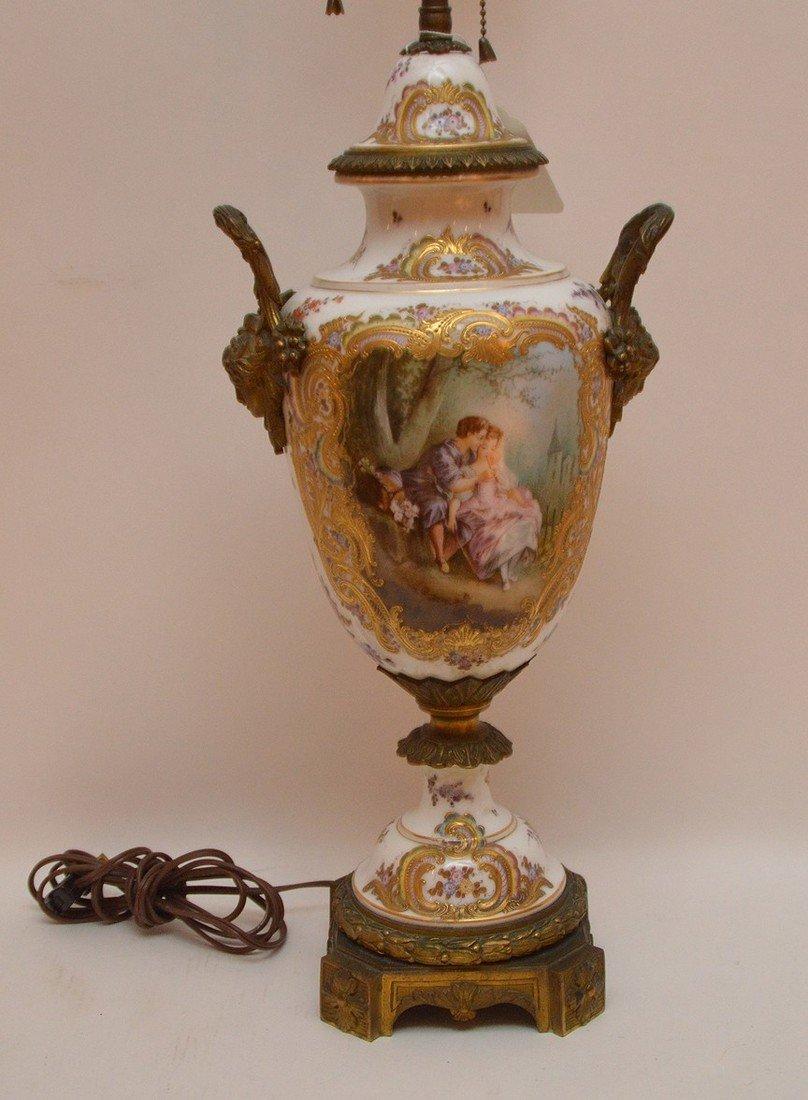 "French Sevres  porcelain lamp, 30""h - 2"