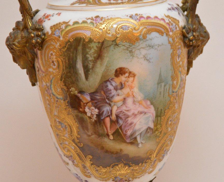 "French Sevres  porcelain lamp, 30""h - 3"