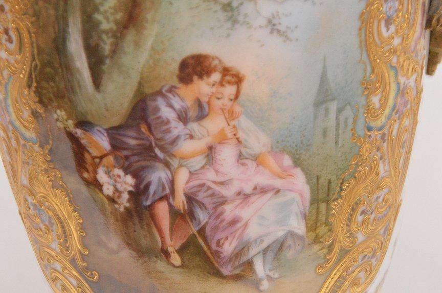 "French Sevres  porcelain lamp, 30""h - 4"