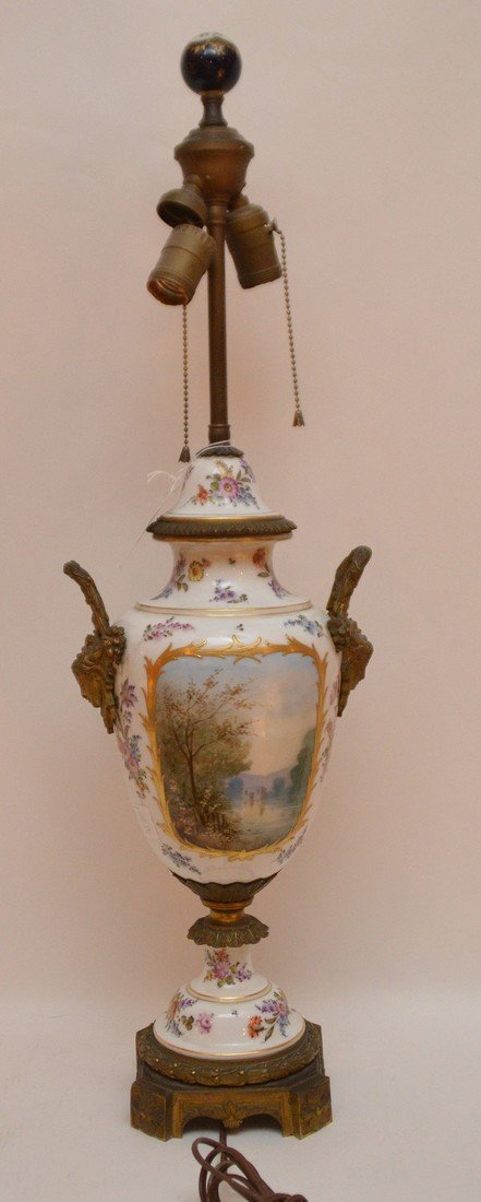 "French Sevres  porcelain lamp, 30""h - 5"