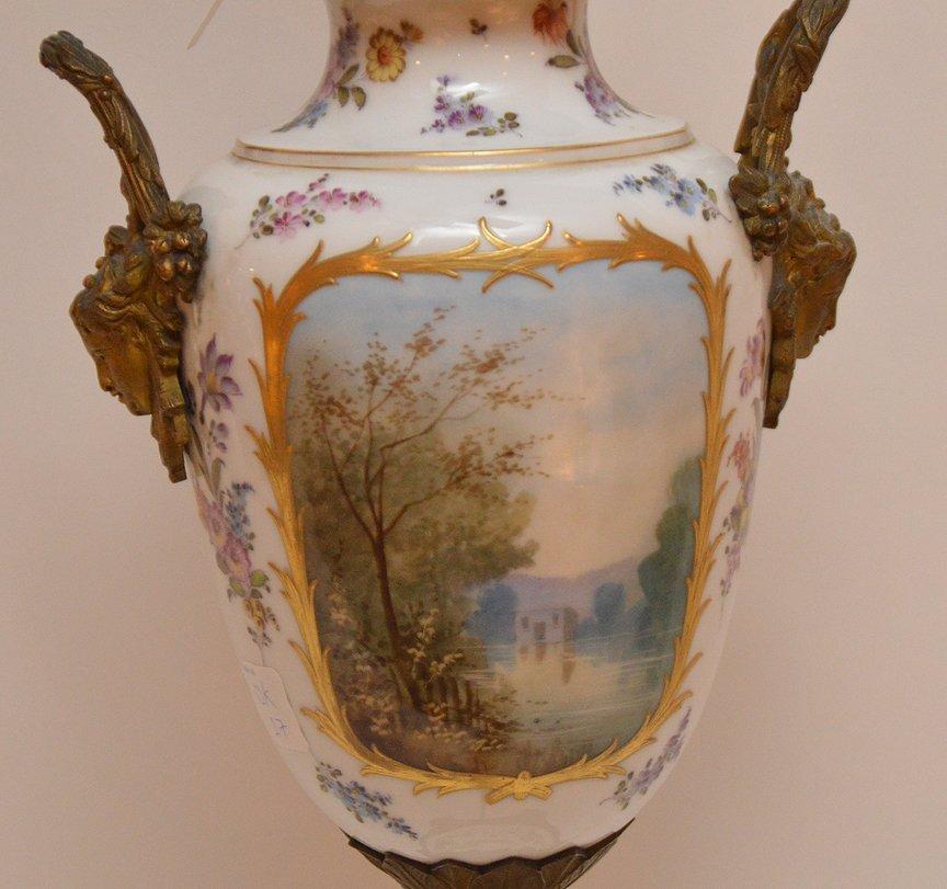 "French Sevres  porcelain lamp, 30""h - 6"