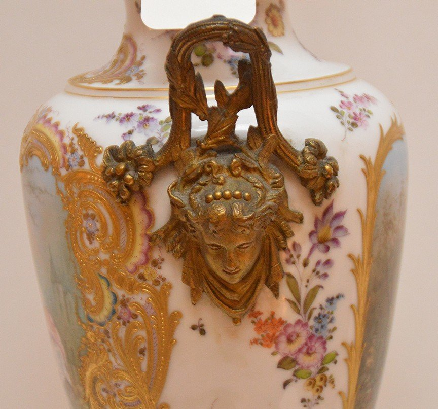 "French Sevres  porcelain lamp, 30""h - 7"