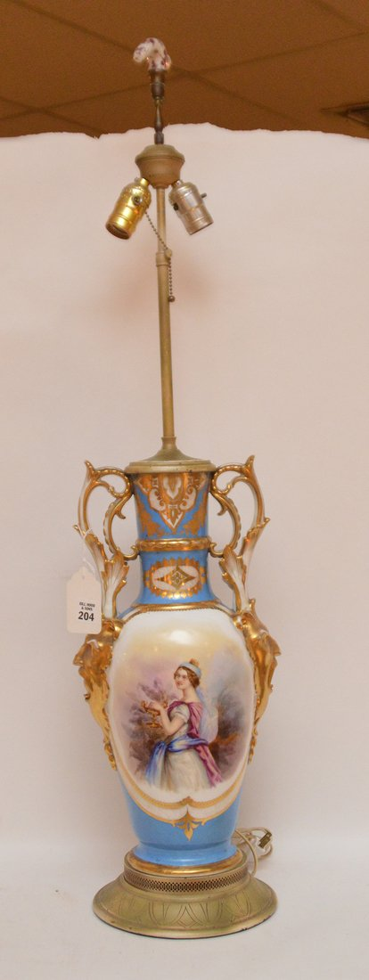 "French porcelain lamp, 36""h"