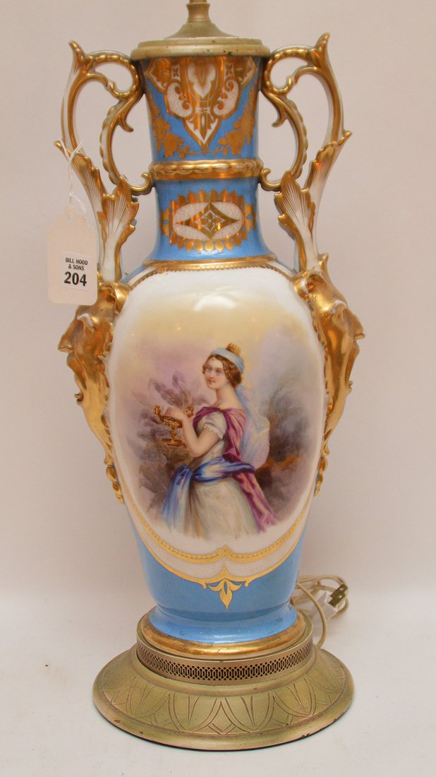 "French porcelain lamp, 36""h - 2"