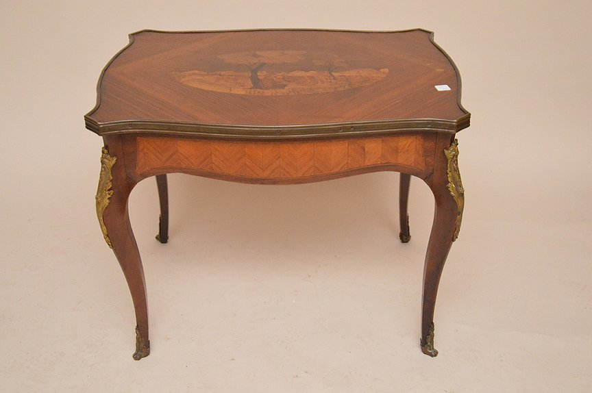 French Inlaid Cocktail Table with bronze mounts.  Ht.